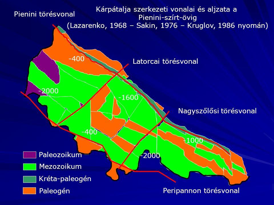 Paleozoikum Mezozoikum Paleogén Kréta-paleogén Kárpátalja szerkezeti vonalai és aljzata a Pienini-szírt-övig (Lazarenko, 1968 – Sakin, 1976 – Kruglov, 1986 nyomán) Latorcai törésvonal Nagyszőlősi törésvonal -400 -2000 -400 -1600 -2000 -1000 Pienini törésvonal Peripannon törésvonal