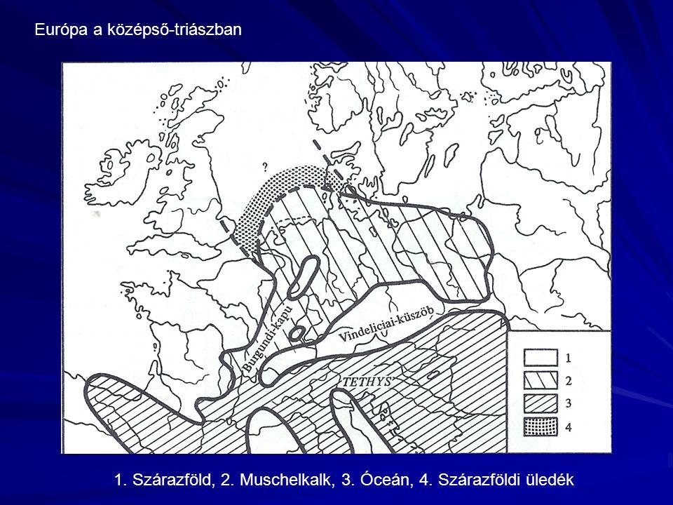 Európa a középső-triászban 1. Szárazföld, 2. Muschelkalk, 3. Óceán, 4. Szárazföldi üledék