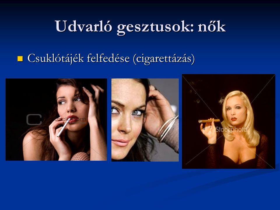 Udvarló gesztusok: nők Csuklótájék felfedése (cigarettázás) Csuklótájék felfedése (cigarettázás)