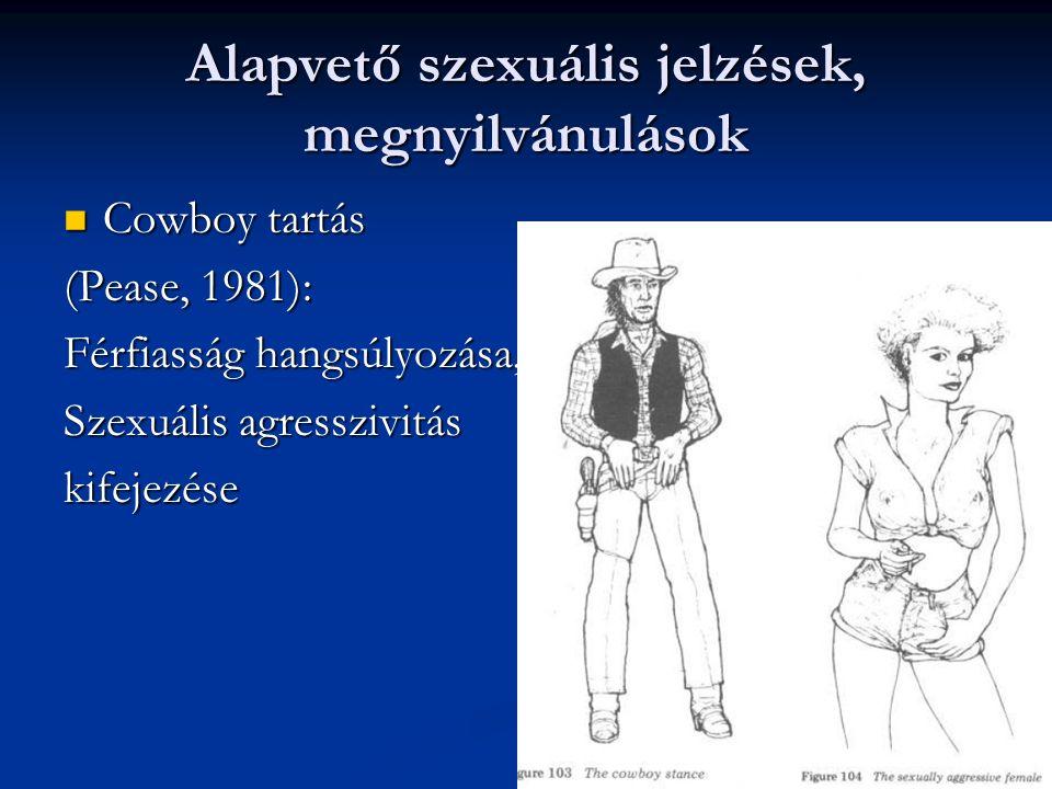 Alapvető szexuális jelzések, megnyilvánulások Cowboy tartás Cowboy tartás (Pease, 1981): Férfiasság hangsúlyozása, Szexuális agresszivitás kifejezése
