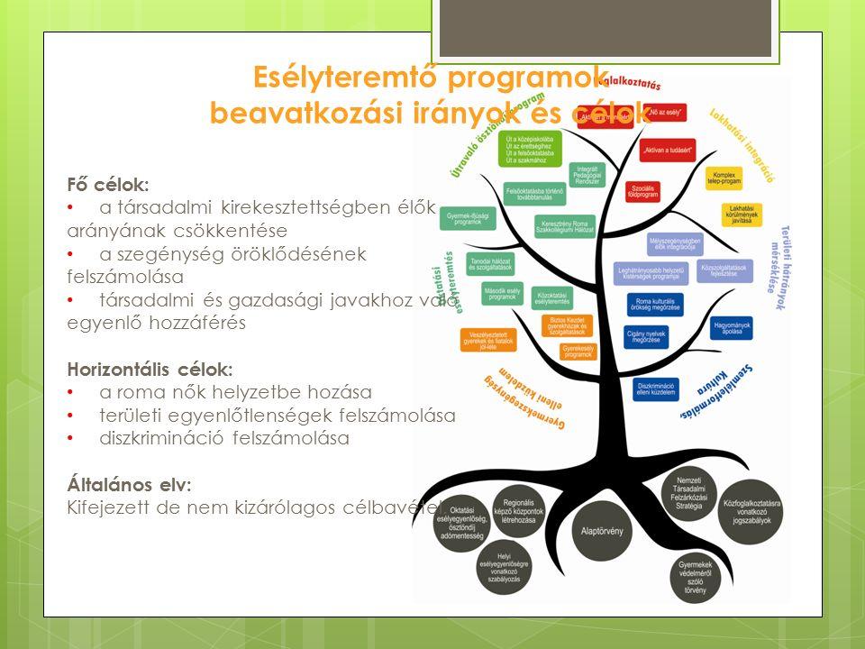 Esélyteremtő programok beavatkozási irányok és célok Fő célok: a társadalmi kirekesztettségben élők arányának csökkentése a szegénység öröklődésének felszámolása társadalmi és gazdasági javakhoz való egyenlő hozzáférés Horizontális célok: a roma nők helyzetbe hozása területi egyenlőtlenségek felszámolása diszkrimináció felszámolása Általános elv: Kifejezett de nem kizárólagos célbavétel.