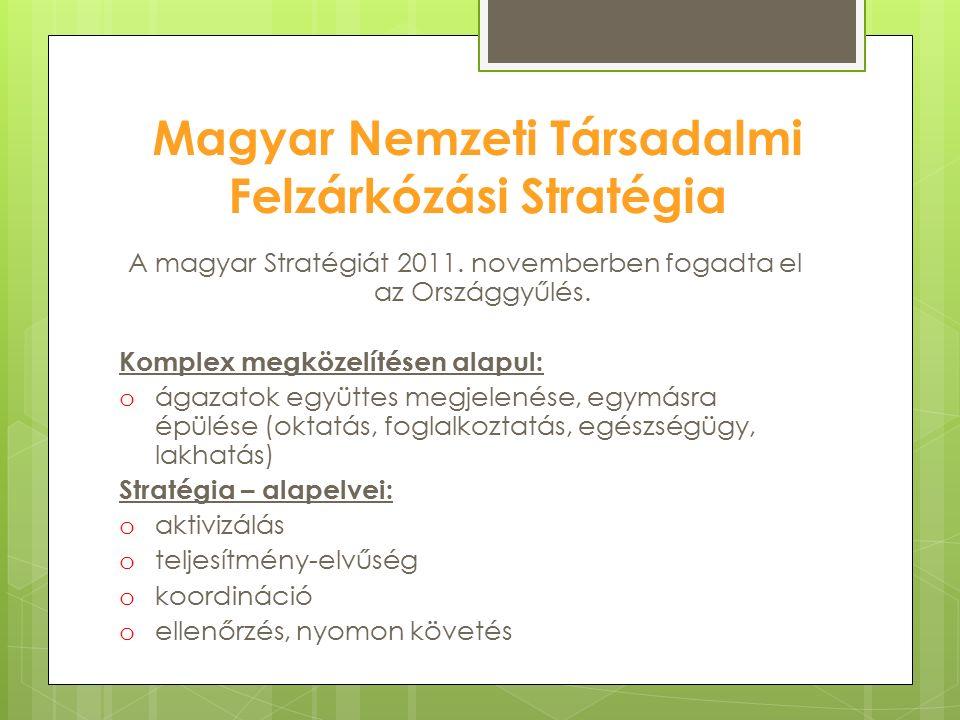 Magyar Nemzeti Társadalmi Felzárkózási Stratégia A magyar Stratégiát 2011. novemberben fogadta el az Országgyűlés. Komplex megközelítésen alapul: o ág