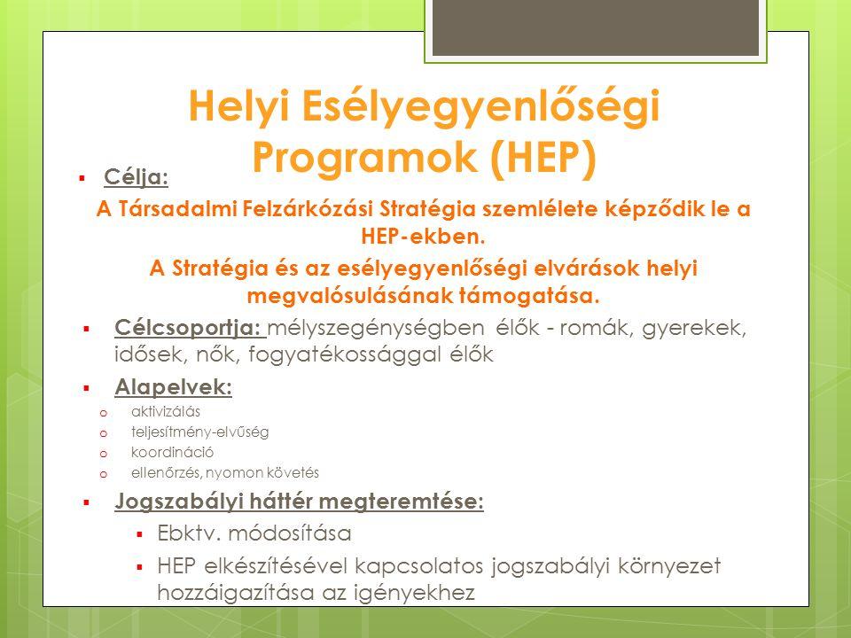 Helyi Esélyegyenlőségi Programok (HEP)  Célja: A Társadalmi Felzárkózási Stratégia szemlélete képződik le a HEP-ekben. A Stratégia és az esélyegyenlő