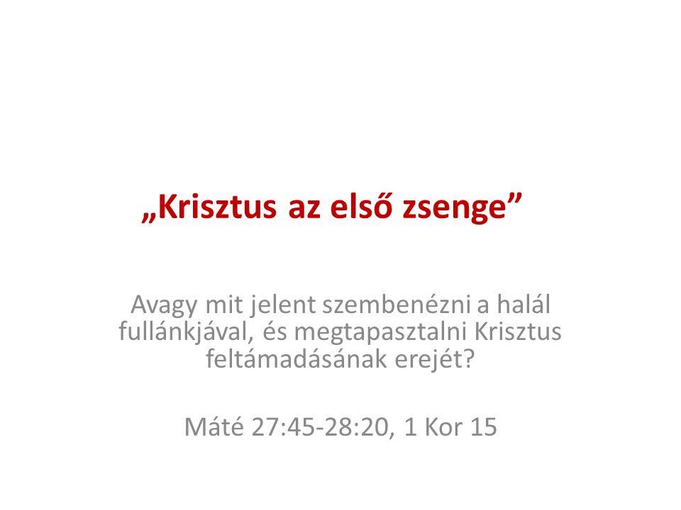 """""""Krisztus az első zsenge Avagy mit jelent szembenézni a halál fullánkjával, és megtapasztalni Krisztus feltámadásának erejét."""