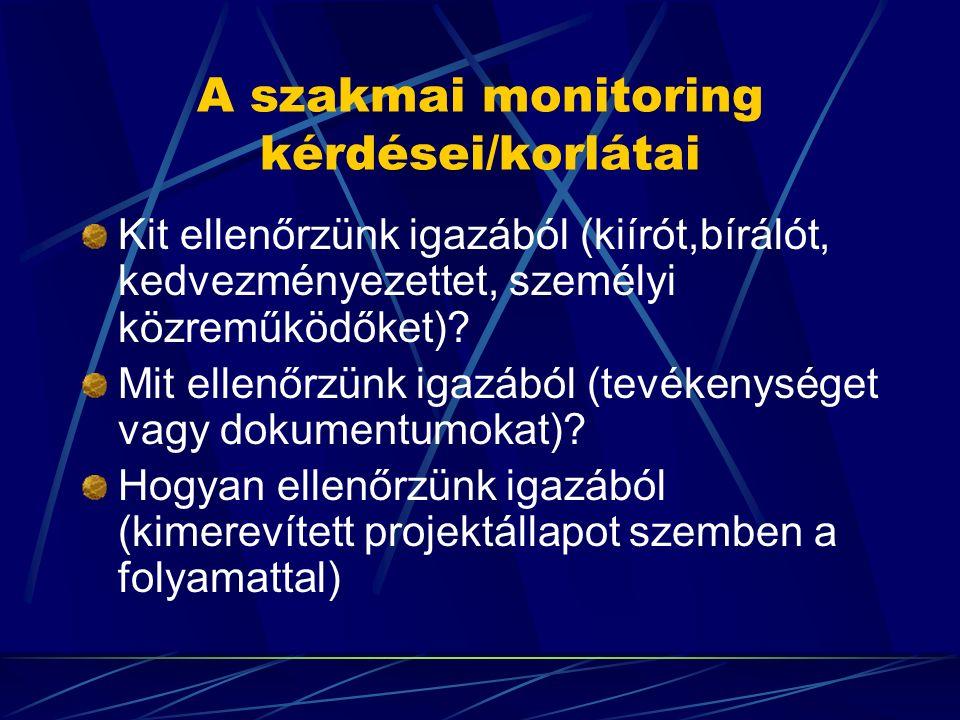 A szakmai monitoring kérdései/korlátai Kit ellenőrzünk igazából (kiírót,bírálót, kedvezményezettet, személyi közreműködőket)? Mit ellenőrzünk igazából