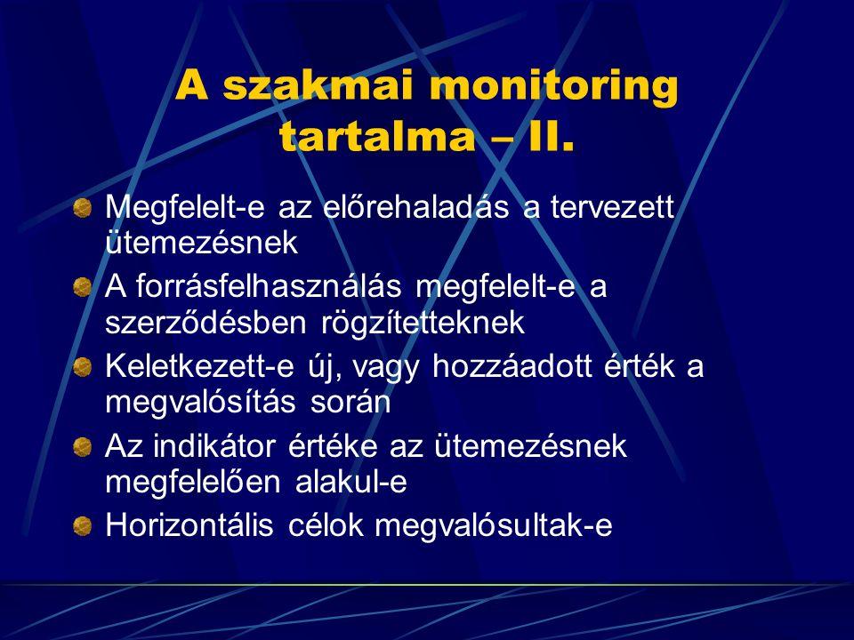 A szakmai monitoring tartalma – II. Megfelelt-e az előrehaladás a tervezett ütemezésnek A forrásfelhasználás megfelelt-e a szerződésben rögzítetteknek