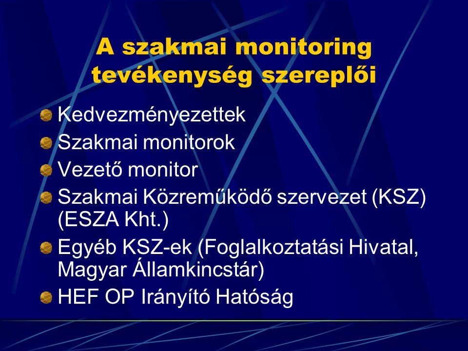 A szakmai monitoring tevékenység szereplői Kedvezményezettek Szakmai monitorok Vezető monitor Szakmai Közreműködő szervezet (KSZ) (ESZA Kht.) Egyéb KS