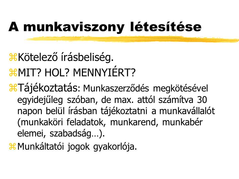A munkaviszony létesítése zKötelező írásbeliség. zMIT.