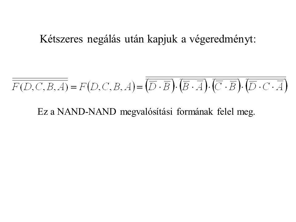 Kétszeres negálás után kapjuk a végeredményt: Ez a NAND-NAND megvalósítási formának felel meg.