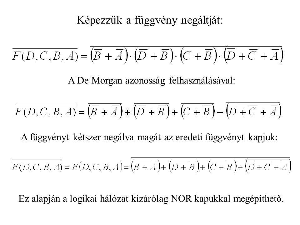 Képezzük a függvény negáltját: A De Morgan azonosság felhasználásával: A függvényt kétszer negálva magát az eredeti függvényt kapjuk: Ez alapján a logikai hálózat kizárólag NOR kapukkal megépíthető.