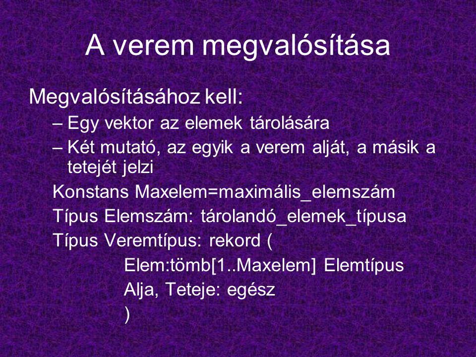 A verem megvalósítása Megvalósításához kell: –Egy vektor az elemek tárolására –Két mutató, az egyik a verem alját, a másik a tetejét jelzi Konstans Maxelem=maximális_elemszám Típus Elemszám: tárolandó_elemek_típusa Típus Veremtípus: rekord ( Elem:tömb[1..Maxelem] Elemtípus Alja, Teteje: egész )