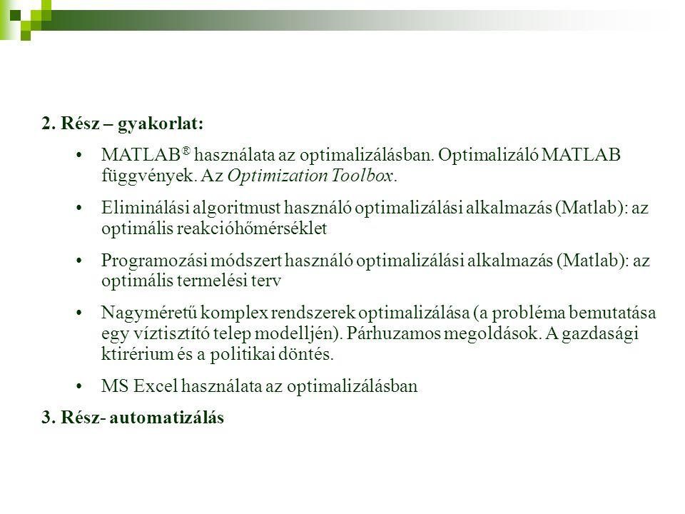 2. Rész – gyakorlat: MATLAB ® használata az optimalizálásban.