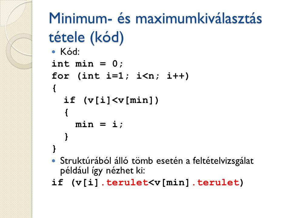 Minimum- és maximumkiválasztás tétele (kód) Kód: int min = 0; for (int i=1; i<n; i++) { if (v[i]<v[min]) { min = i; } } Struktúrából álló tömb esetén a feltételvizsgálat például így nézhet ki: if (v[i].terulet<v[min].terulet)