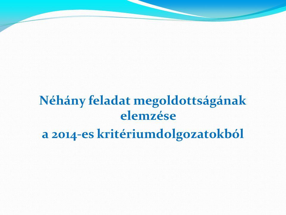 Néhány feladat megoldottságának elemzése a 2014-es kritériumdolgozatokból