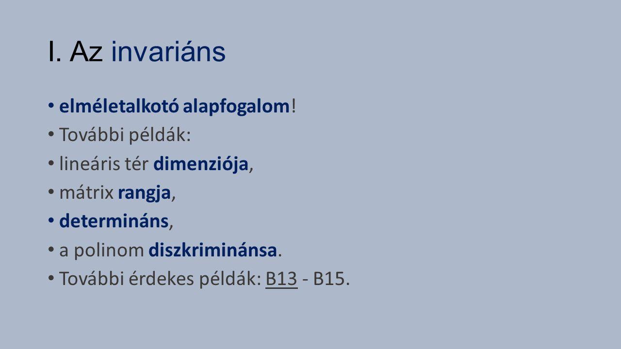 I. Az invariáns elméletalkotó alapfogalom! További példák: lineáris tér dimenziója, mátrix rangja, determináns, a polinom diszkriminánsa. További érde