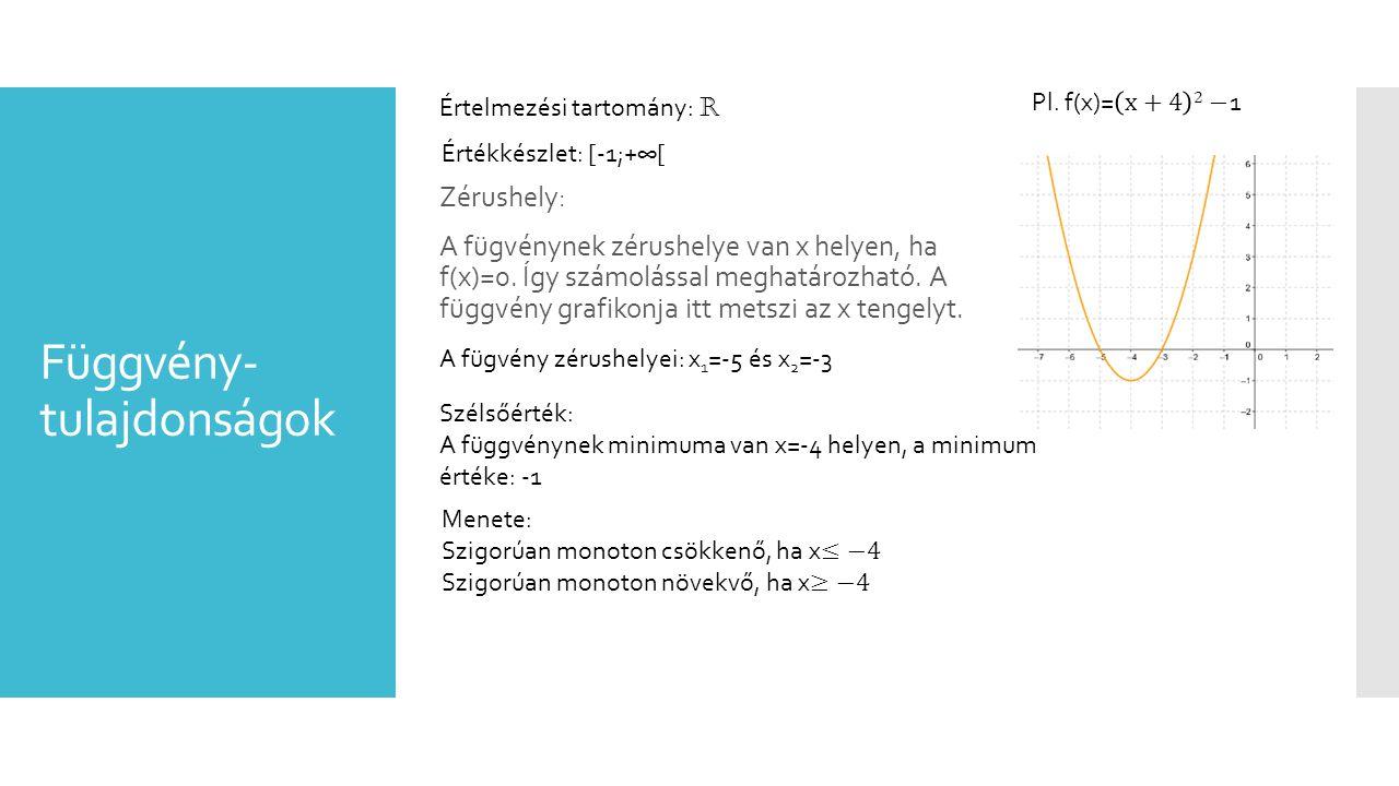 Függvény- tulajdonságok Zérushely: A fügvénynek zérushelye van x helyen, ha f(x)=0. Így számolással meghatározható. A függvény grafikonja itt metszi a