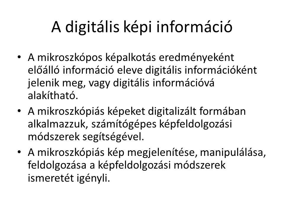 A digitális képi információ A mikroszkópos képalkotás eredményeként előálló információ eleve digitális információként jelenik meg, vagy digitális információvá alakítható.
