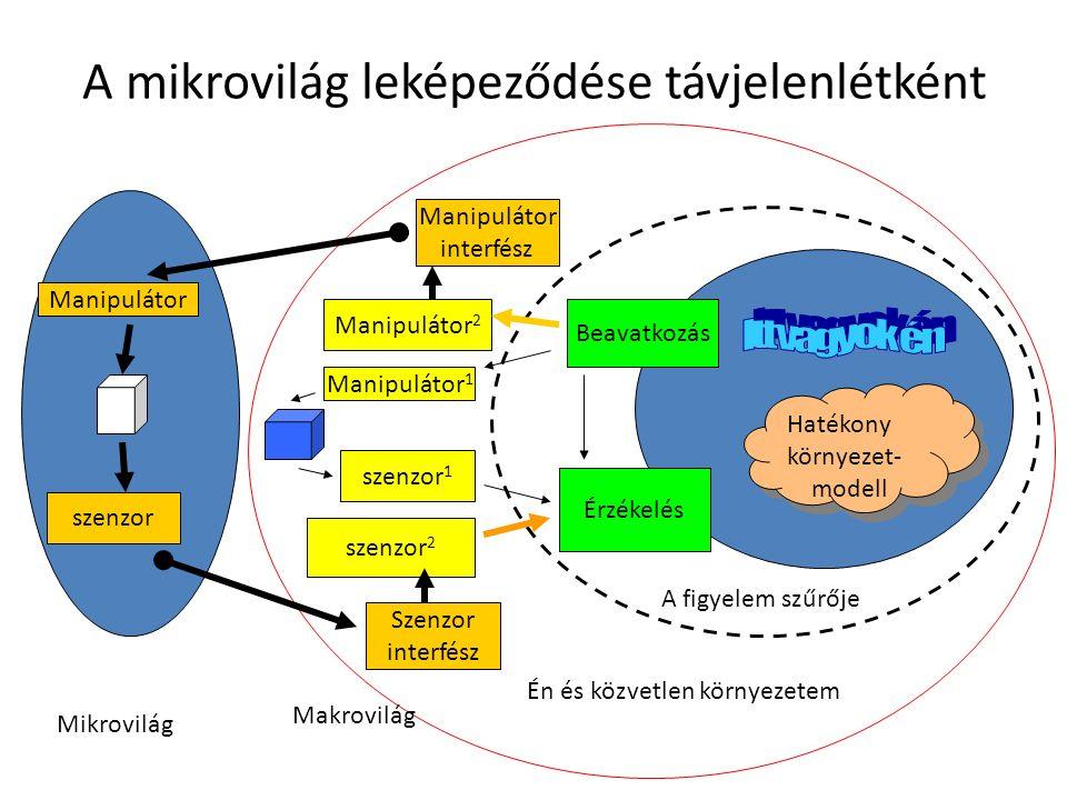 A mikrovilág leképeződése távjelenlétként Érzékelés szenzor 2 szenzor 1 Szenzor interfész Beavatkozás Manipulátor interfész Manipulátor 2 Manipulátor 1 Én és közvetlen környezetem Manipulátor szenzor Hatékony környezet- modell Hatékony környezet- modell A figyelem szűrője Mikrovilág Makrovilág