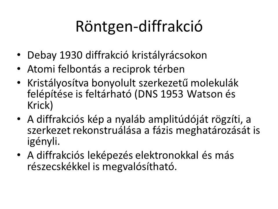 Röntgen-diffrakció Debay 1930 diffrakció kristályrácsokon Atomi felbontás a reciprok térben Kristályosítva bonyolult szerkezetű molekulák felépítése is feltárható (DNS 1953 Watson és Krick) A diffrakciós kép a nyaláb amplitúdóját rögzíti, a szerkezet rekonstruálása a fázis meghatározását is igényli.