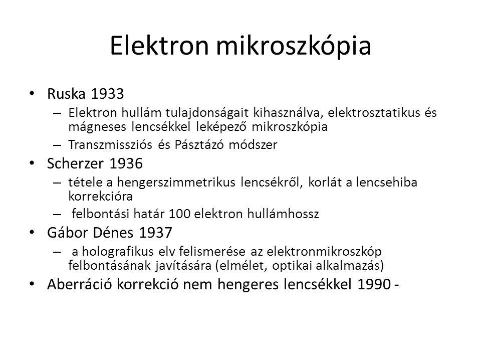 Elektron mikroszkópia Ruska 1933 – Elektron hullám tulajdonságait kihasználva, elektrosztatikus és mágneses lencsékkel leképező mikroszkópia – Transzmissziós és Pásztázó módszer Scherzer 1936 – tétele a hengerszimmetrikus lencsékről, korlát a lencsehiba korrekcióra – felbontási határ 100 elektron hullámhossz Gábor Dénes 1937 – a holografikus elv felismerése az elektronmikroszkóp felbontásának javítására (elmélet, optikai alkalmazás) Aberráció korrekció nem hengeres lencsékkel 1990 -