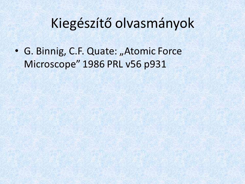 "Kiegészítő olvasmányok G. Binnig, C.F. Quate: ""Atomic Force Microscope 1986 PRL v56 p931"