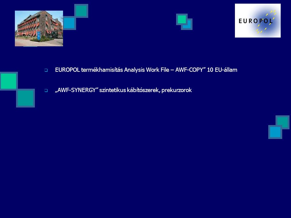 """ EUROPOL termékhamisítás Analysis Work File – AWF-COPY"""" 10 EU-állam  """"AWF-SYNERGY"""" szintetikus kábítószerek, prekurzorok"""