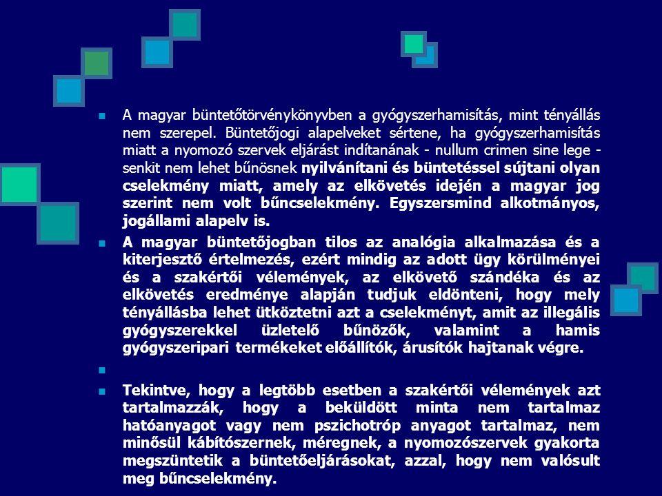 A magyar büntetőtörvénykönyvben a gyógyszerhamisítás, mint tényállás nem szerepel. Büntetőjogi alapelveket sértene, ha gyógyszerhamisítás miatt a nyom