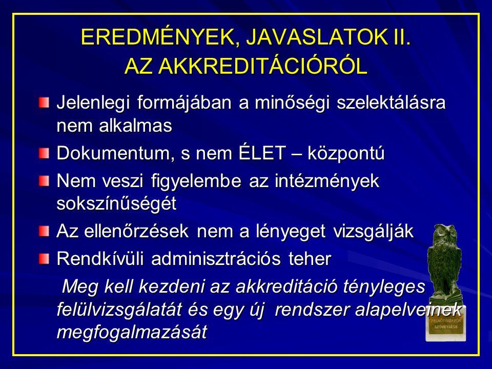EREDMÉNYEK, JAVASLATOK II.