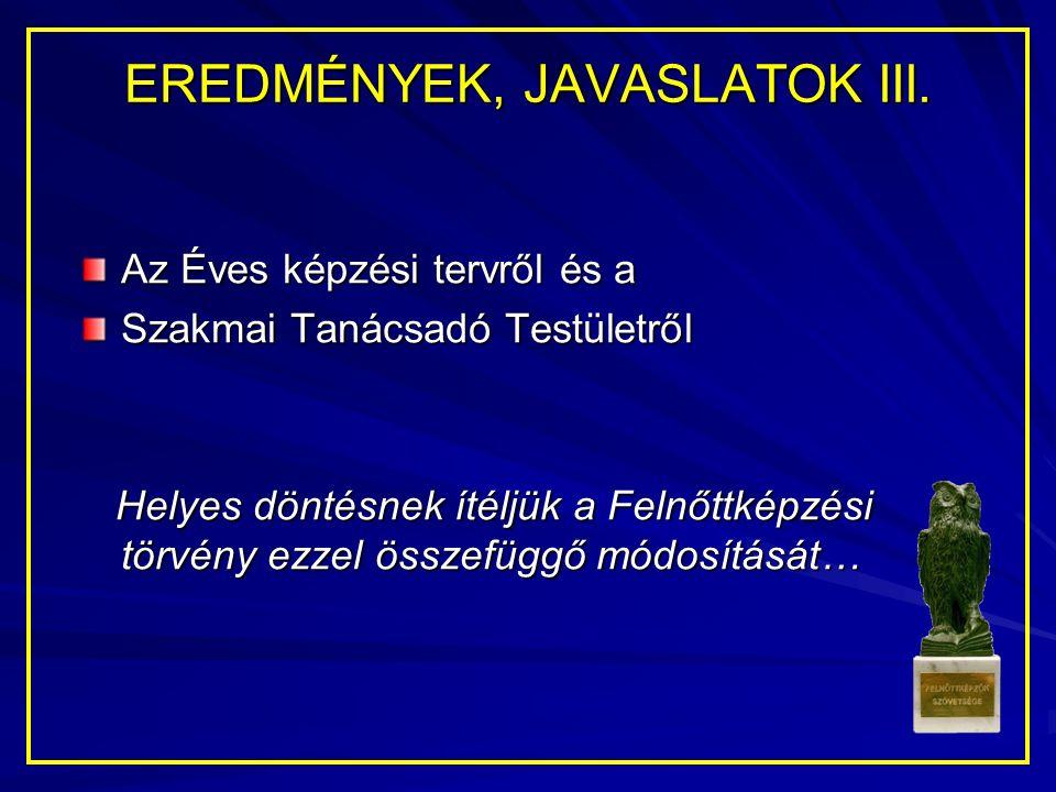 EREDMÉNYEK, JAVASLATOK III.