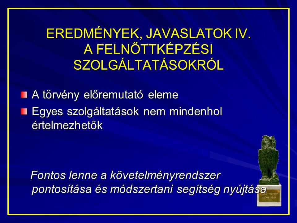 EREDMÉNYEK, JAVASLATOK IV.