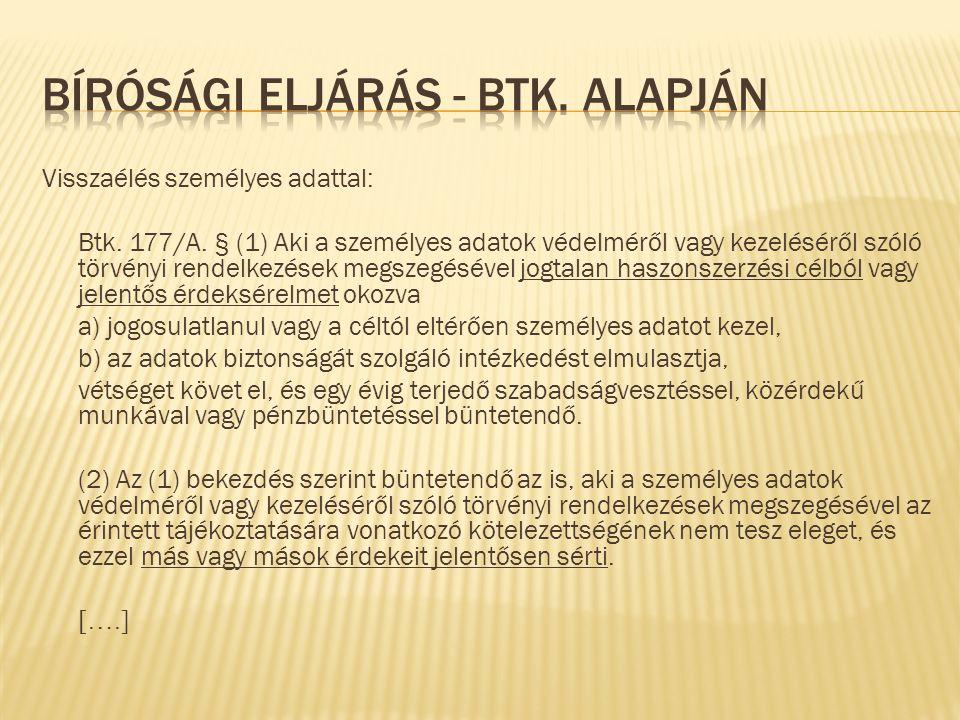 Visszaélés személyes adattal: Btk. 177/A.