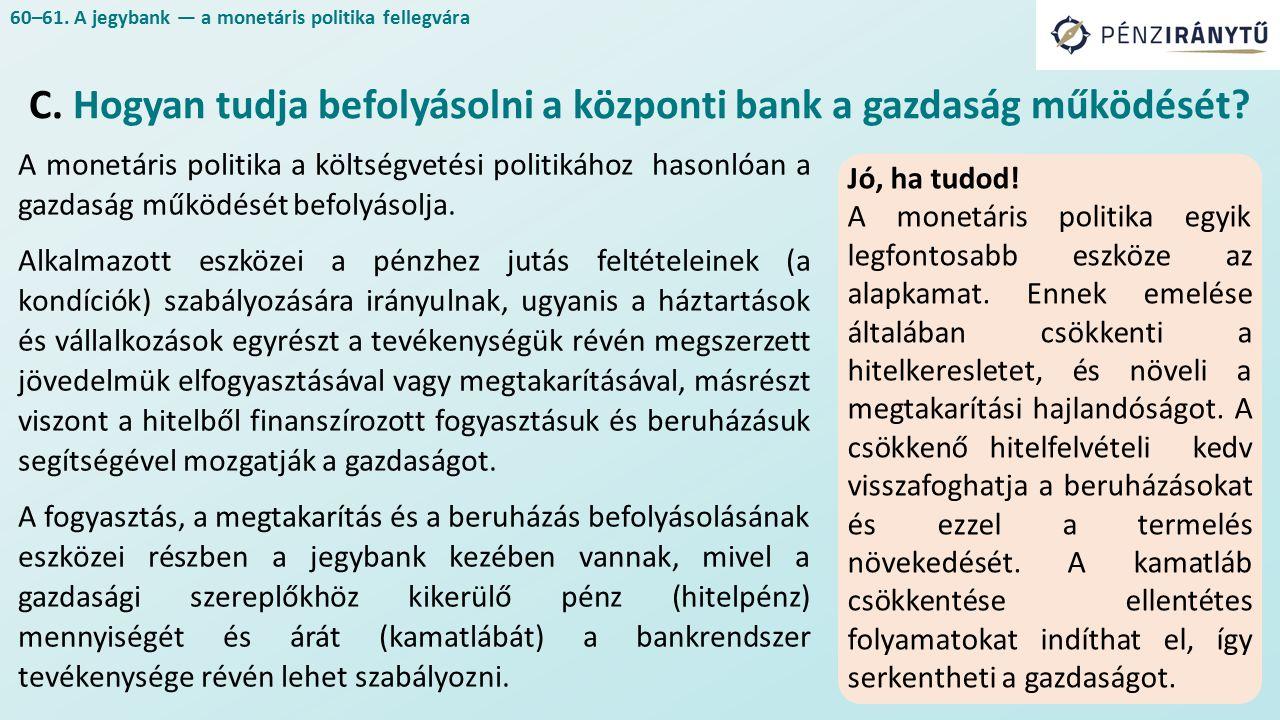 A monetáris politika a költségvetési politikához hasonlóan a gazdaság működését befolyásolja.