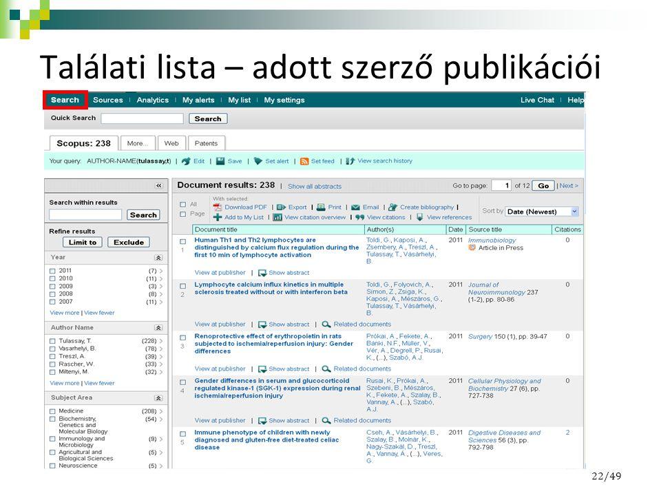 Találati lista – adott szerző publikációi 22/49