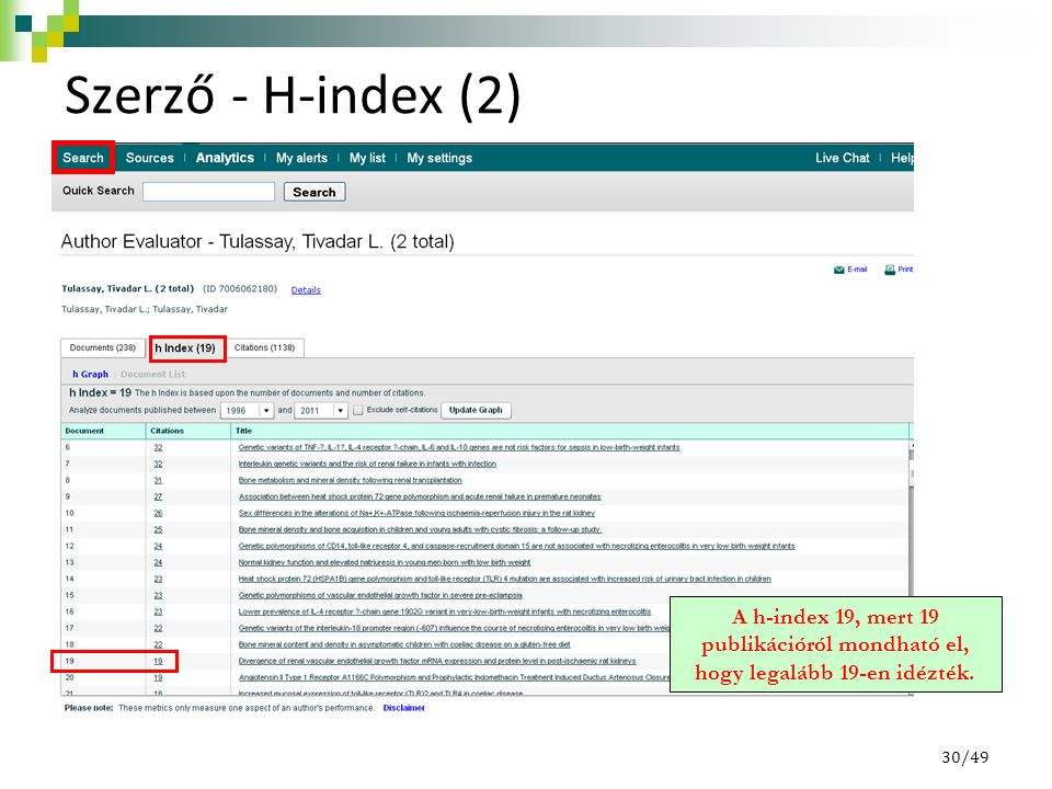 Szerző - H-index (2) A h-index 19, mert 19 publikációról mondható el, hogy legalább 19-en idézték.