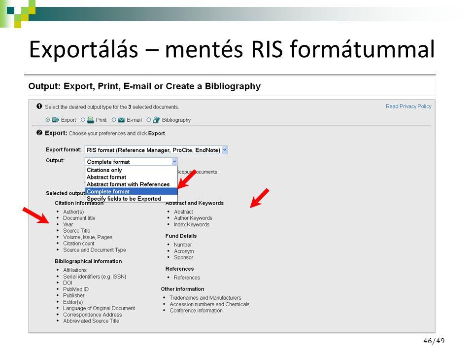 Exportálás – mentés RIS formátummal 46/49