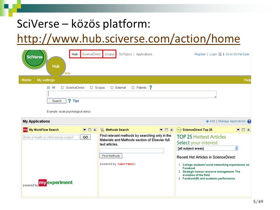 SciVerse – közös platform: http://www.hub.sciverse.com/action/home http://www.hub.sciverse.com/action/home 5/49