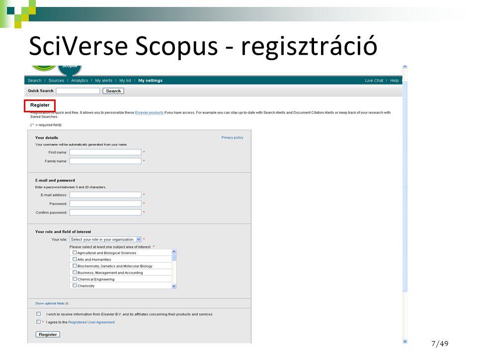SciVerse Scopus - regisztráció 7/49