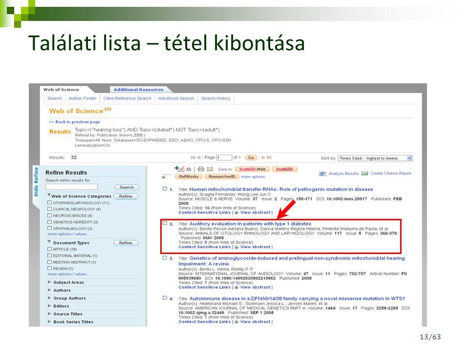 Találati lista – tétel kibontása 13/63