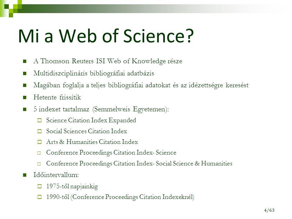 Mi a Web of Science? A Thomson Reuters ISI Web of Knowledge része Multidiszciplináris bibliográfiai adatbázis Magában foglalja a teljes bibliográfiai