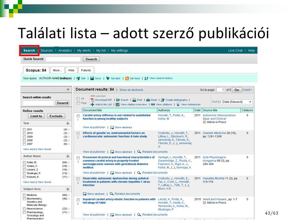 Találati lista – adott szerző publikációi 43/63