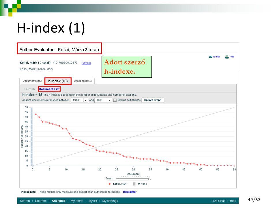 H-index (1) 49/63 Adott szerző h-indexe.