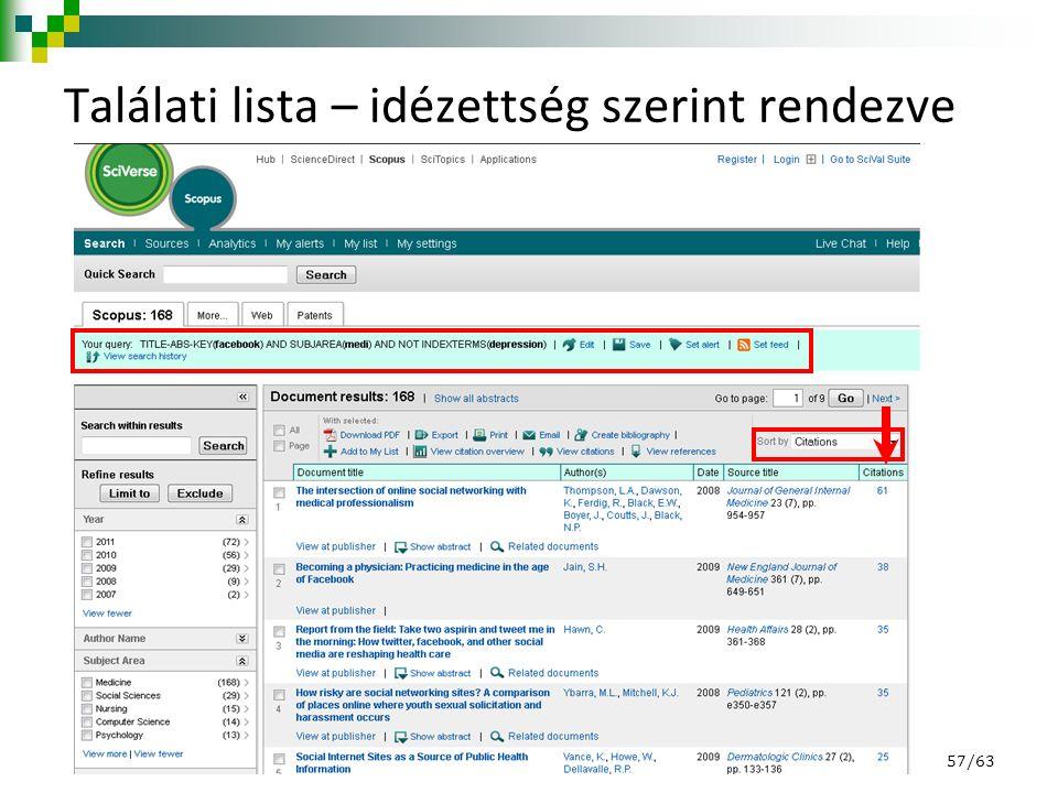 Találati lista – idézettség szerint rendezve 57/63
