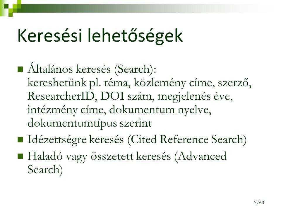 """Találati lista """"kombinálása Advanced Search / Search History 28/63"""