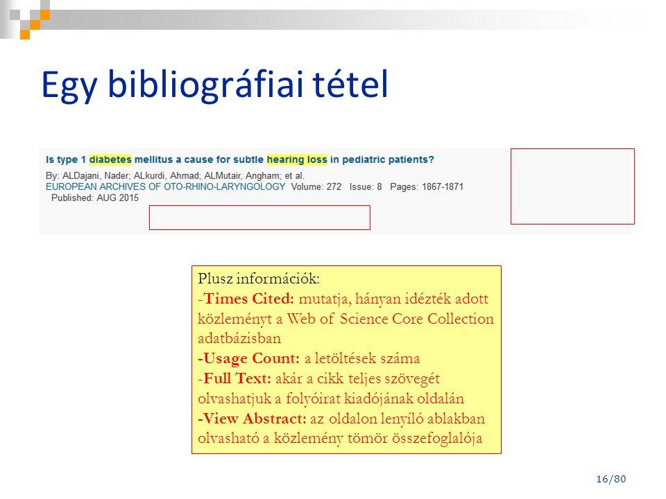 Egy bibliográfiai tétel Plusz információk: -Times Cited: mutatja, hányan idézték adott közleményt a Web of Science Core Collection adatbázisban -Usage
