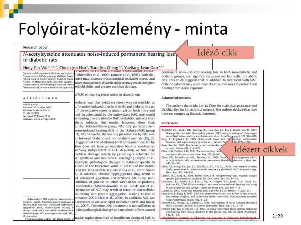 Folyóirat-közlemény - minta 2/80 Idézett cikkek Idéző cikk