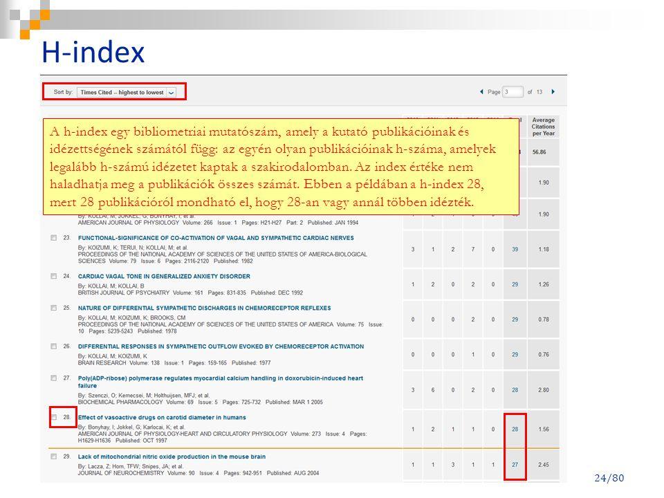 H-index 24/80 A h-index egy bibliometriai mutatószám, amely a kutató publikációinak és idézettségének számától függ: az egyén olyan publikációinak h-s