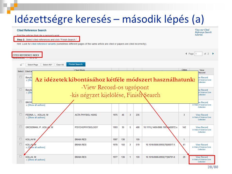 Idézettségre keresés – második lépés (a) 28/80 Az idézetek kibontásához kétféle módszert használhatunk: -View Record-os ugrópont -kis négyzet kijelölése, Finish Search
