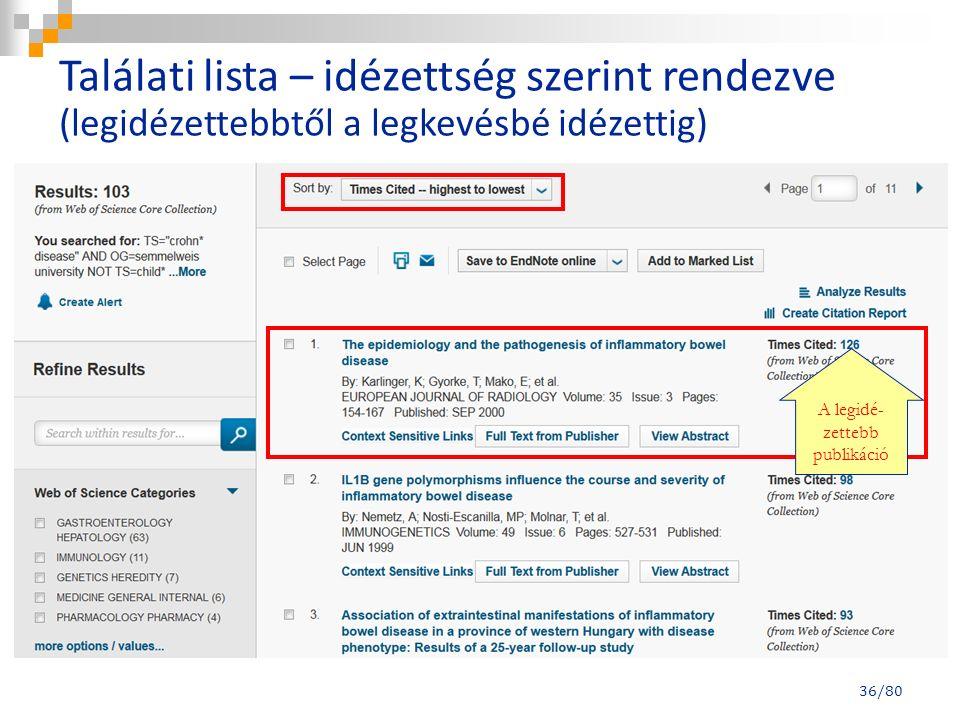 36/80 A legidé- zettebb publikáció Találati lista – idézettség szerint rendezve (legidézettebbtől a legkevésbé idézettig)