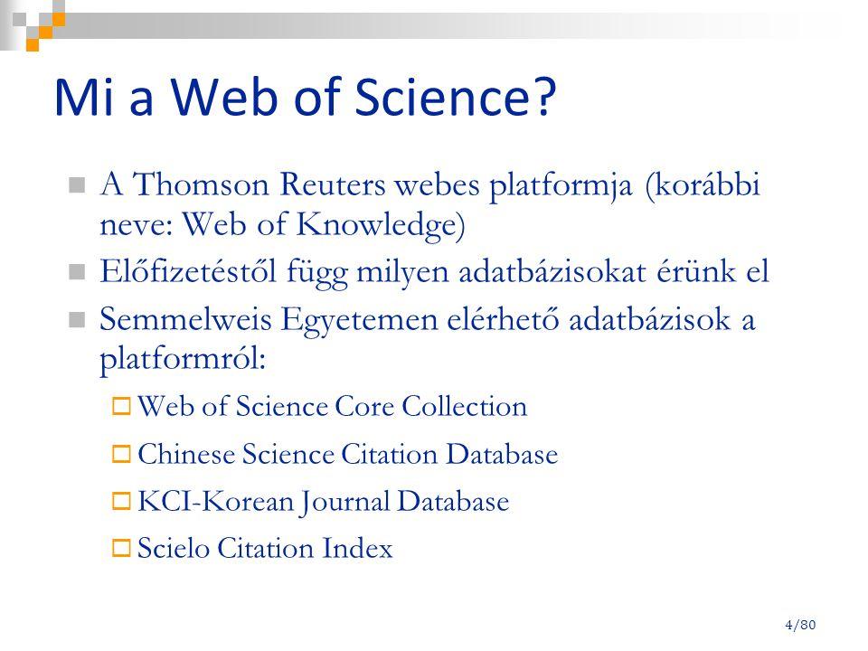 25/80 Keresési lehetőségek Általános keresés (Basic Search) Idézettségre keresés (Cited Reference Search): közlemények idézettségére kereshetünk, utánanézhetünk ki kit idéz Haladó vagy összetett keresés (Advanced Search)