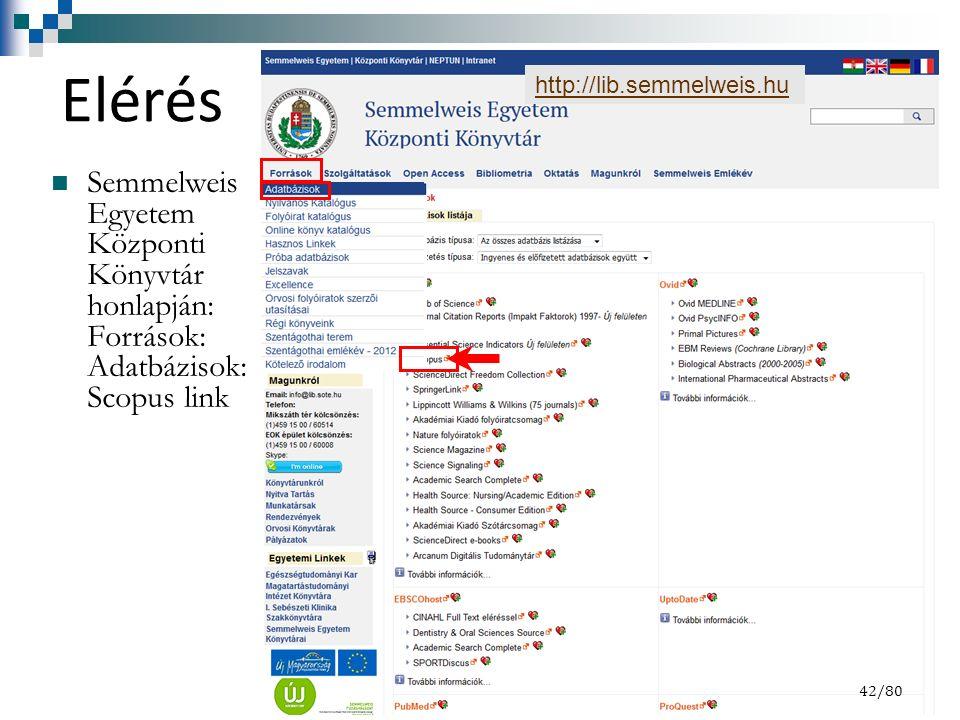 Elérés Semmelweis Egyetem Központi Könyvtár honlapján: Források: Adatbázisok: Scopus link 42/8442/80 http://lib.semmelweis.hu